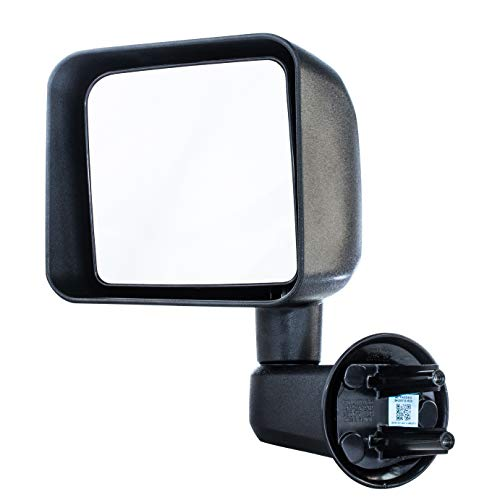 Dependable Direct Left Driver Side Textured Manual Operated Non-Heated Folding Mirror Compatible With Jeep Wrangler 2007-2016 - Parts Link # CH1320271