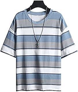 Wanxiaoyyyinnsdx Mens Henley Short Sleeve, Man Striped Fashion Short Sleeve T-Shirt Men's Casual Trendy Summer Streetwear ...