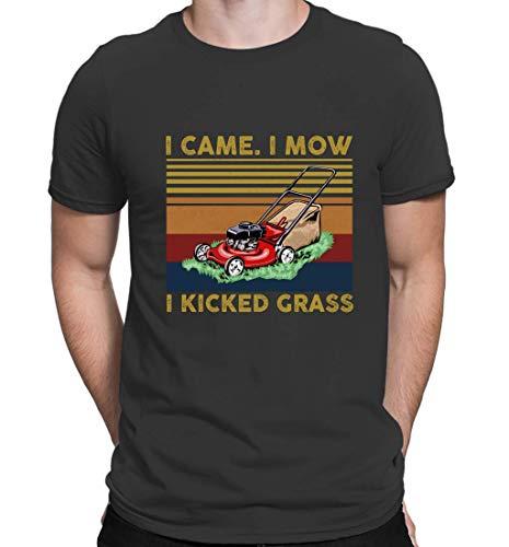 Camisetas vintage para hombre con cuello redondo, manga corta, para cortacésped I Came I Mow Kicked Grass Negro Negro ( 3XL