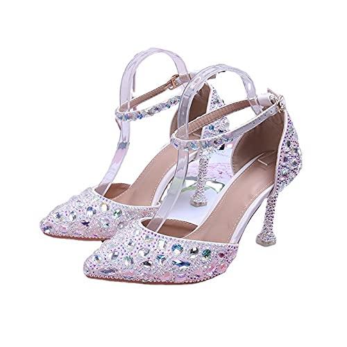 Shoudian Sandalias de tacón alto para mujer, para boda, novia, punta cerrada, correa al tobillo, sexy, color diamante, multicolor, 42 EU