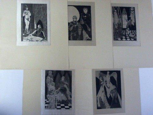 5 Original-Radierungen auf Seide zu Goethes Faust