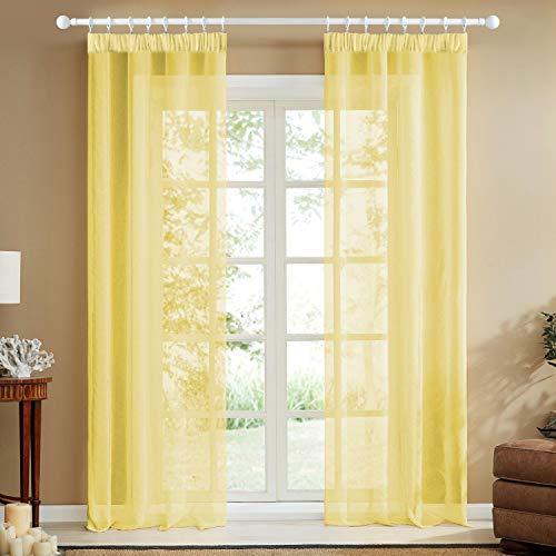 Topfinel Transparente Visillos da Panels Modernas Visillos para Ventanas Cortinas Dormitorio con Plisado de Lápiz 2 Piezas 140x280cm Amarillo