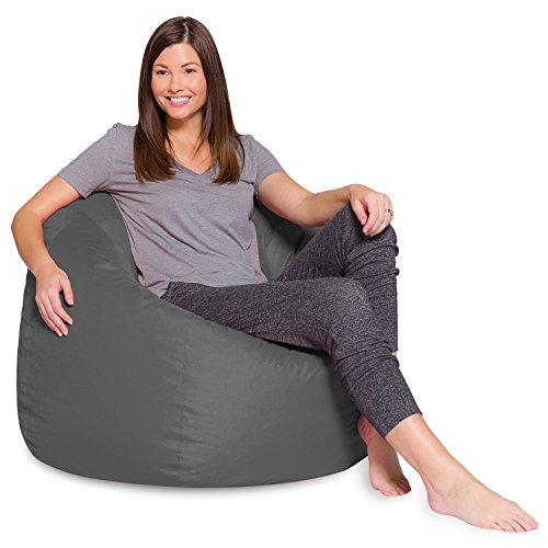 Posh Beanbags Big Comfy Bean Bag Posh Large Beanbag Chairs with Removable Cover for Kids, Teens and Adults Polyester Cloth Puff Sack Lounger Furniture for All Ages, 48in Extra, Heather Gray