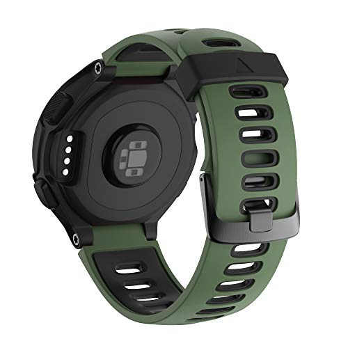 NotoCity Compatible with Forerunner 220 Watch Bands Black Buckle Sport Silicone Watch Strap Replacement for Forerunner 230/220/235/620/630/735XT and Approach S20/S5/S6 Smartwatch (Army green-black)