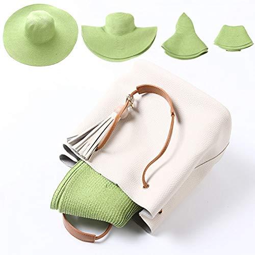 Fxhang Floppy Hats zomermode, casual, vakantiereizen, brede zonnehoed, opvouwbare strandhoed, voor vrouwen met grote hoofd