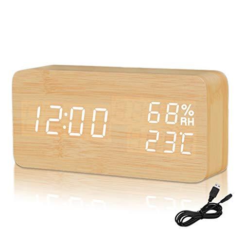 Despertador Digital Moderno de Madera, LED Reloj Alarma Electrónico 3 Niveles Brillo Ajustable Viene con Cable USB Muestra Humedad y Temperatura(C/F) para Escritorio, Habitación, Estudio (Original)