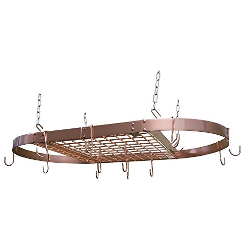 Range Kleen CW6015 Copper Motif Hanging Oval Pot Rack 15 Inch H by 33 Inch W by 17 Inch D