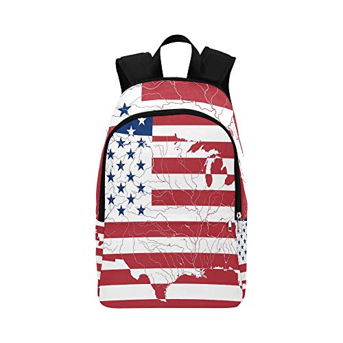 YPink Map of The United States of America On The Americ Casual Daypack Travel Bag College School Backpack for Mens and Women