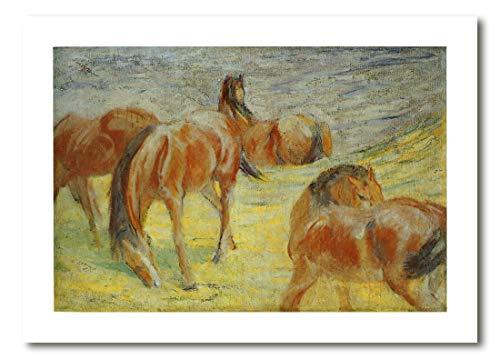 Cuadro Decoratt: Caballos posando - Franz Marc 67x48cm. Cuadro de impresión directa.