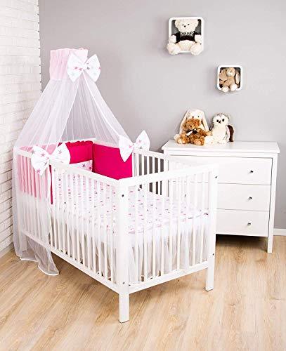 Amilian Baby Bettwäsche 7tlg Set mit Nestchen Kinderbettwäsche 100x135 Himmel Betthimmel Kinder Bettwäsche Babybettwäsche für Baby Sternchen groß Rosa/Rosa (Chiffonhimmel)