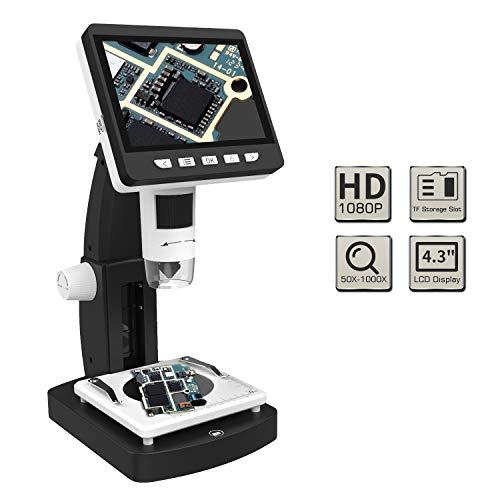 MoKo Microscopio Microscopio Digitale Schermo LCD TFT da 4,3 Pollici,Alta Risoluzione 2048P con Ingrandimento 50x a 1000x, Illuminazione 8 LED, Uscita USB, SD, Miscroscopio per Mac/Wind - Nero
