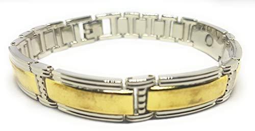 Pulsera de terapia magnética de acero inoxidable grueso con barras de color dorado para hombres y mujeres, regalo de alivio de la artritis