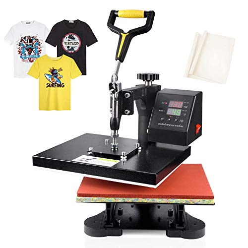 Seeutek Heat Press 12' X 10' Professional Heat Transfer Digital Sublimation Machine 360 Degree Swing Away for T Shirts with Bonus 2 Teflon Sheet