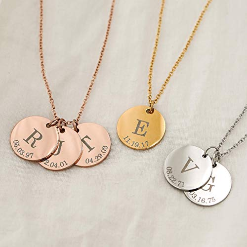 Delicate Initial Disc Necklace Coin Graduation Gift Mothers Day Gift for Her Personalized Initial Jewelry for Women