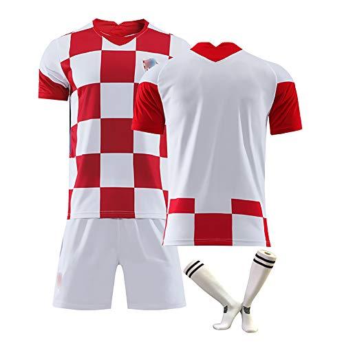 anpassbar 10 Modric 17 Mandzukic Supporters Trikot neues kroatisches Trikot Kinderfußballtrikot Sportkleidung für Erwachsene mit Fußballsocken-blank-26