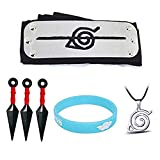6PCS Naruto Adjustable Cosplay Headband Big Kunai Plastic Toy Necklace Luminous Wristband Ninja...