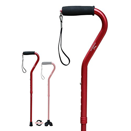 KingGear Adjustable Cane for Men amp Women  Lightweight amp Sturdy Offset Walking Stick  Mobility Aid for Elderly Seniors amp Handicap Red
