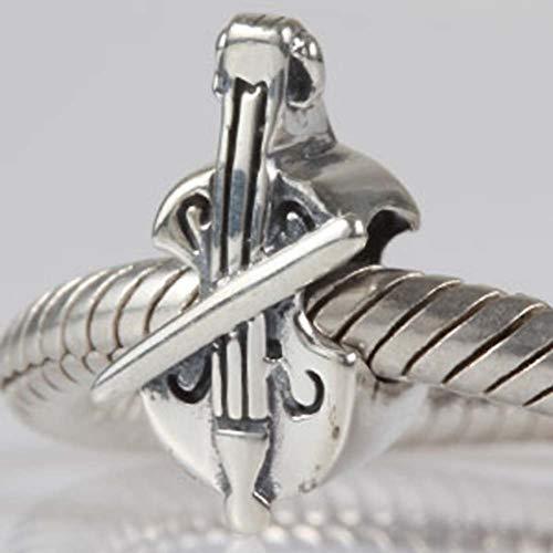 Violin Charm 925 Sterling Silver Music Charm Art Melody Charm for DIY Charms Bracelet (Violin)