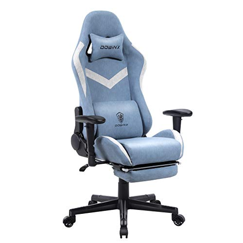 Dowinx Gaming Chair Breathable Fabric Office Chair with Massage Lumbar Support, High Back Ergonomic Comouter Chair Adjustable Swivel Task Chair with Footrest Blue