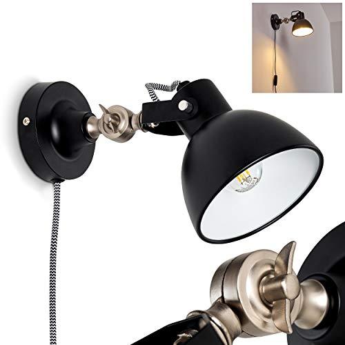 Wandleuchte Tilton, verstellbare Wandlampe aus Metall in Schwarz/Weiß/Nickel-matt, 1-flammig, 1 x E14 max. 40 Watt, Wandspot im Retro/Vintage-Design m. An-/Ausschalter am Textilkabel, LED geeignet