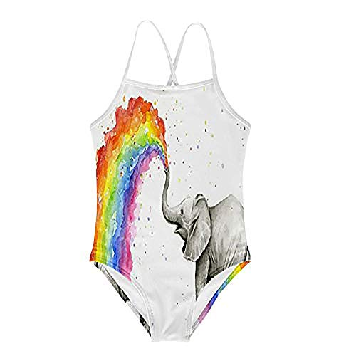 KiuLoam Baby Elephant Spraying Rainbow Printing Girl's Swimsuit Two Piece Swimwear Sun Protection Bathing Suits for 7-8 Years Child