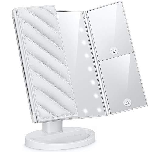 Specchio Trucco con Luci, TICWELL controllo touch dimmerabile Specchio cosmetico ingrandimento 1X, 2X, 3X, girevole a 180 °,3 specchietti laterali, Ricarica batterie USB