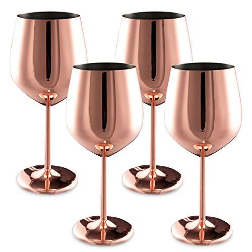 4 Copas de Vino Elegantes de Acero Cobre oro Rosa, 540 ml | Durable Irrompible y sin BPA| Copa de Vino Tinto de Metal para Acampar Al aire libre Cumpleaños Navidad Bohemia Fiestas| en Caja de Regalo.
