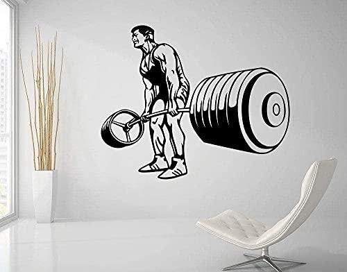 Pegatinas De Pared Fitness Gym Tatuajes De Pared Culturismo Fitness Deportes Vinilo Pegatinas De Pared Sala De Estar Decoración Del Hogar Arte De Levantamiento De Pesas 42X53Cm