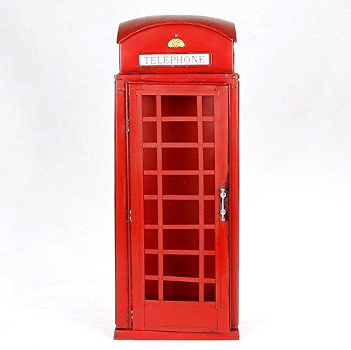 LD&P Europa y los Estados Unidos Viento Calle Moda Rojo Cabina Modelo Puede Abrir la Cabina de teléfono Adornos de decoración colección Amantes casa artesanías Bar Decoraciones,Red,21 * 20 * 50CM