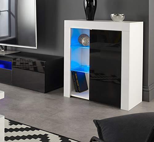 MMT Furniture Designs Ltd - Credenza moderna per buffet, con luci a LED, colore: bianco opaco/lucido, bianco/nero., small