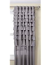 تصميم ذكي رمادي غرفة المعيشة، عارضة قضيب الجيب كشكش غرفة النوم، ستارة نافذة قماشية خلفية خلفية خلفية خلفية خلفية 50X84، حزمة لوحة واحدة