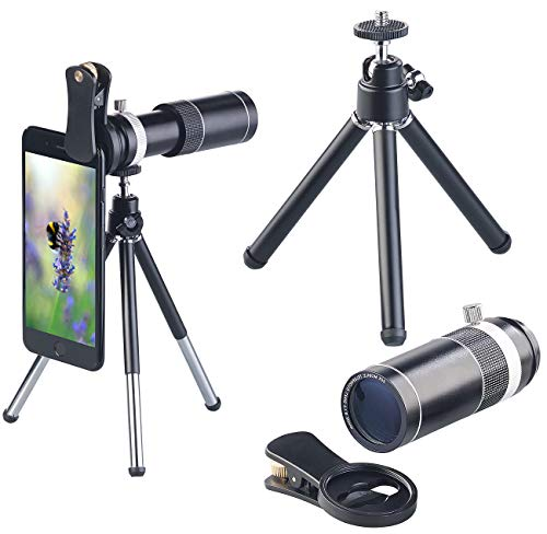 Somikon Accesorios para Celular: Accesorio teleobjetivo 20x para Smartphones, Trípode y Carcasa de Aluminio (Lente Auxiliar)