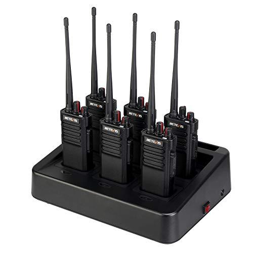 Retevis RT29 Walkie Talkie, Walkie Talkie Profesional con Cargador de Seis Vías, Batería Grande 3200 mAh, 16 Canales, Monitor de Escaneo VOX Tot, Walkie Talkie Larga Distancia (6 Piezas, Negro)