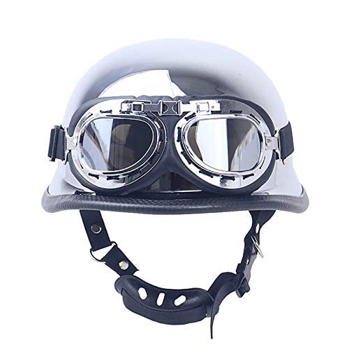 HZIH Casco Moto Half-Helmet,Personalidad Retro Moda Motocicleta Casco De Seguridad con Gafas Protectoras,ECE Homologado,Cascos de Motocicleta Abiertos para Hombres y Mujeres M=57~58cm