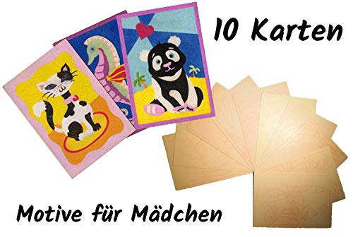 IDEA FACTORY Sandkarten Pack Mädchen - Sandbilder - SandArt - SandKunst (10)