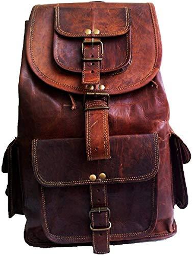16' Leather World 16' Vintage Leather Backpack Bag Rucksack Laptop Bag Briefcase Messenger Bag Computer Bag for Men Women Backpack Brown Leather Bag Office Briefcase for Men Women Pittu Bag,