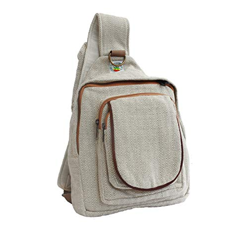 Hemp Sling chest pack bag backpack rucksack shoulder crossbody bag Daypacks - Organic and eco friendly Bags for men and women : Cycling Camping Gym Sports Lightweight - Handmade by Hemp Hemisphere