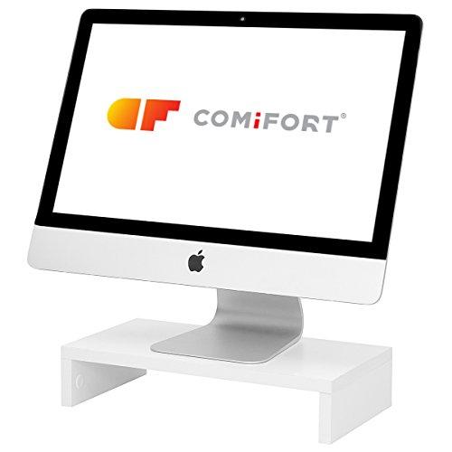 COMIFORT Elevador para Ordenador o Portátil- Funcional Soporte para Monitor, Resistente y Antideslizante de Estilo Moderno y Minimalista, Color Blanco