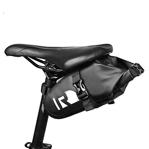 Bolsa impermeable impermeable de montaña de la bicicleta de carretera bolsa de sillín de bicicleta de cuña de la parte trasera del asiento de la bolsa de herramientas, negro