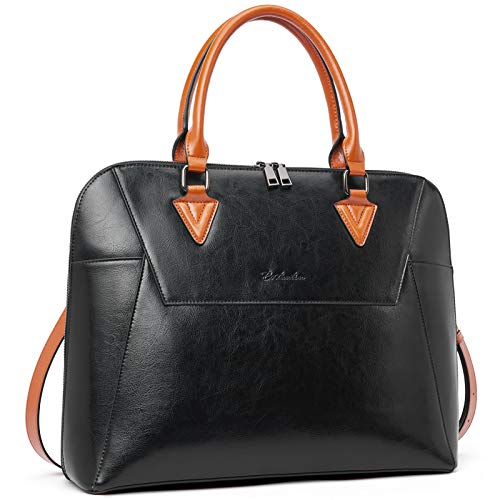 BOSTANTEN Briefcase for Women Leather 15.6 inch Laptop Shoulder Bags Office Work Crossbody Handbag Black
