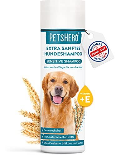 PetsHero Champú para perros Sensitive Bio – Cuidado extra suave para pieles sensibles – 250 ml – adecuado para cachorros – libre de crueldad & vegano – Dermatest muy bueno