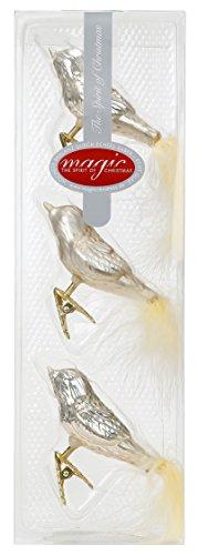 3 STK. Vögel Glas 8cm Christbaumschmuck Weihnachtsschmuck Baumschmuck Set Deko - Champagner Glanz/matt