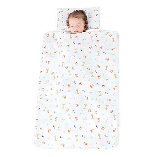 YFCH Baby/Kinder Jungen/Mädchen Schlafsack Kinderschlafsack Abziehbar Babyschlafsack Baumwolle Musselin Schlummersack Babydecke mit Kopfkissen, Knochen und Hunde, 120 × 150CM