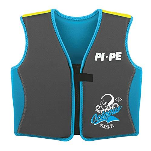 PI-PE Schwimmweste Kinder - Swimmen Lernen mit Einem sicheren Gefühl - Schwimmhilfe für Auftrieb angenehmes Neopren - schnell trocknend Blue/Grey Octopus 6-7 Jahre