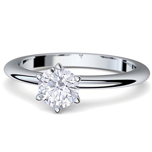 Verlobungsringe von AMOONIC mit Zirkonia Stein +*LUXUSETUI & GRAVUR!* Heiratsantrag Geschenkidee Antrag Hochzeit Silberring Ring Silber 925 Zirkonia wie Diamant Damenring AM195SS925ZIFA52-2