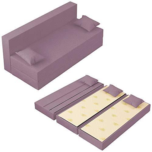 Baldiflex Sofá Cama de 3Plazas Espuma viscoelastica, Modelo TreTris. Confortable Funda extraíble y Lavable. Color Lilla.