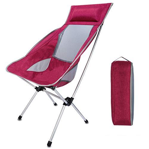 キャンプ 椅子 チェア アウトドアチェア 耐荷重150kg ハイバックチェア レッド 軽量 折りたたみ椅子 折りたたみチェア コンパクトキャンプ用品 お釣り お花見 BBQ 耐荷重