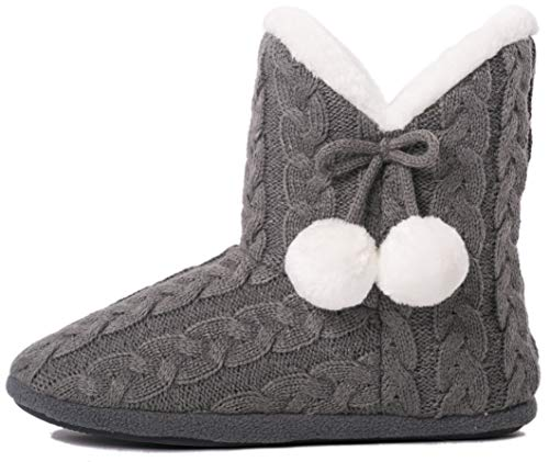 Airee Fairee Hausschuhe Damen Pantoffeln Stiefel Schuhe mit Weichen,Grau,36-37.5 EU/ Herstellergröße- Small