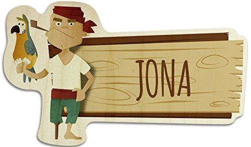 printplanet Türschild aus Holz mit Namen Jona - Motiv Pirat - Namensschild, Holzschild, Kinderzimmer-Schild