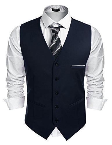 Burlady Herren Western Weste Herren Anzug Weste V-Ausschnitt Ärmellose Westen Slim Fit Anzug Business Hochzeit, Navy, XXL